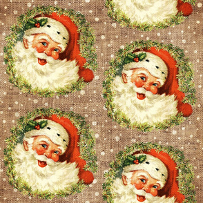 Vintage Santa with Wreath on Burlap- extra large scale