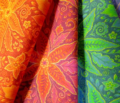 Bali batik style red floral pattern