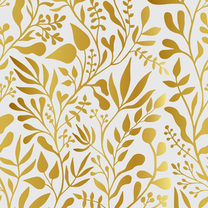 Leafy vines - Gold on white
