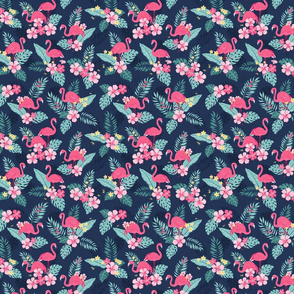 Tropical Flamingos - Navy SMALL