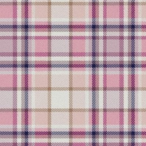 Pale Peach and Pink White Center Plaid