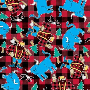 Paul Bunyan and Babe the Blue Ox Red Buffalo Check Plaid