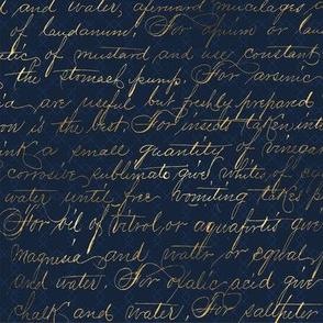 Gold Script on Navy