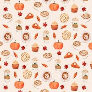 MINI - watercolor psl - pumpkin spice latte, coffee, latte, pumpkin, fall, autumn fabric - cream