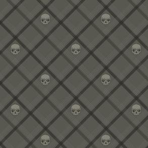 Light Grey Plaid Skull