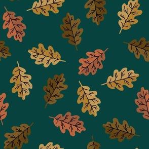 oak leaf fabric - autumn leaves fabric - multi green