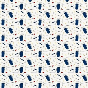 (extra small scale) tee time - navy tan - golf themed fabric V2 C20BS