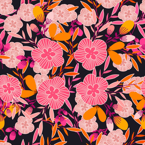Bright florals- orange,pink,peach
