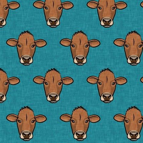 Brown Cows - farm themed - Angus on teal  - LAD20