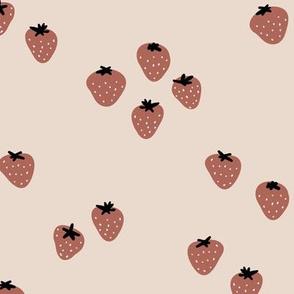 The minimalist strawberry boho fields Scandinavian fruit garden neutral beige sand stone red