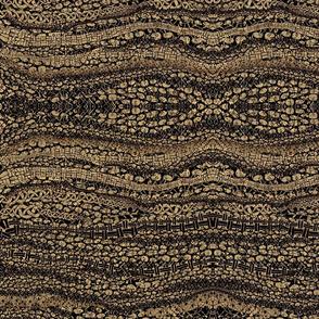 African Brown Black Striped Rows of Mushrooms