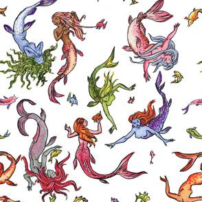 Happy Rainbow Mermaids white