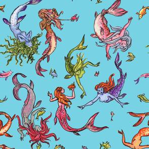 Happy Rainbow mermaids Blue