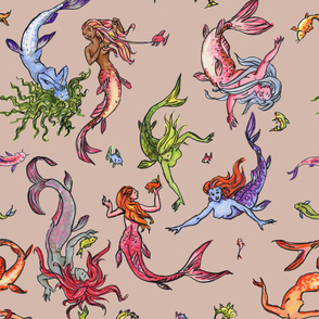 Happy Rainbow Mermaids sand