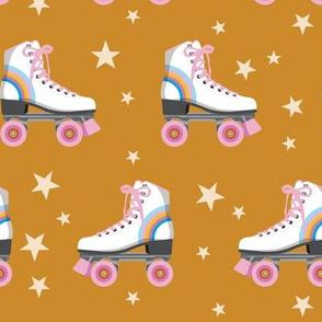 Roller Rink* (Rainbows on Gold Seal) || skates roller-skate rollerskate skating stars 70s 80s disco mustard glitter