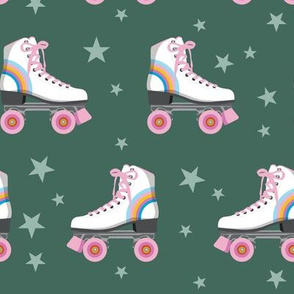 Roller Rink* (Rainbows on Statue of Liberty) || skates roller-skate rollerskate skating stars 70s 80s disco