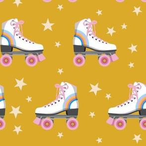 Roller Rink* (Rainbows on Gold Marilyn) || skates roller-skate rollerskate skating stars 70s 80s disco
