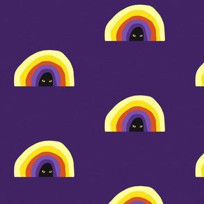 Rainbow on Purple with Cat Eyes