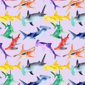 Rainbow hammerheads - lavender bg