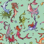 Happy Rainbow Mermaids Celadon Green