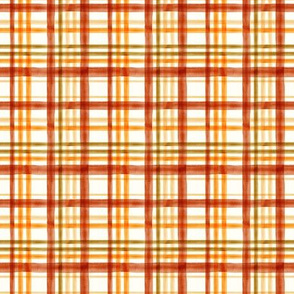 (small scale) Fall Plaid - Watercolor - thanksgiving - orange & rust - LAD19BS