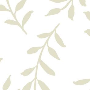 Cream Leaves on White