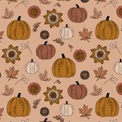 Fall Halloween Pumpkins on Tan
