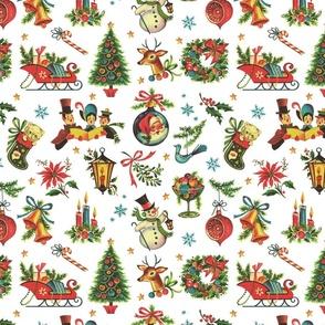 Vintage Retro Christmas on White - medium scale