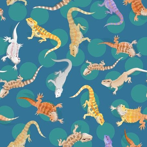 Bearded Dragon Lizard Scatter Teal Small