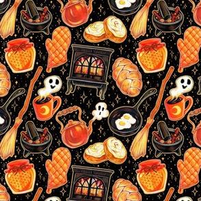 Kitchen Witch Supplies on Black 1/2 Size