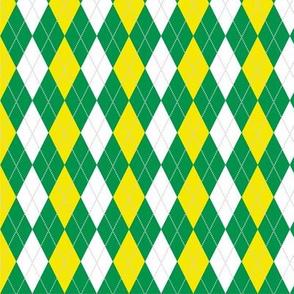 Green Yellow Argyle School Colors