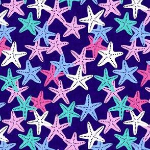 (small scale) Starfish - dark blue - summer beach nautical - LAD19BS