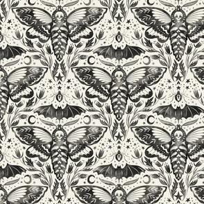 Watercolor Skull Moth Damask
