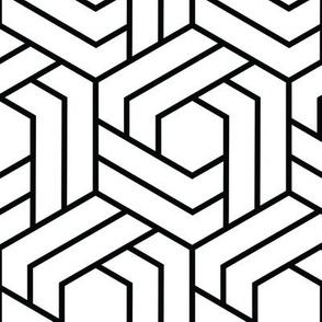 Black and White Geometric Honeycomb Hexagon