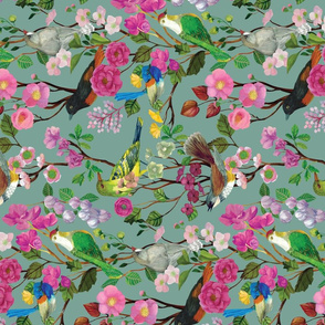 Birds and Blooms Chinoiserie {Duck Egg} - vertical