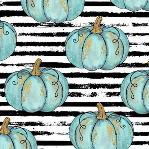 Blue Painted Pumpkins on Distressed Stripe - large scale