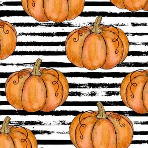Orange Painted Pumpkins on Distressed Stripe -large scale