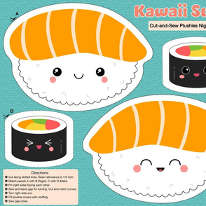 Kawaii Sushi Plushies Nigiri & Maki Cut-and-Sew - Plush Toy Sewing Project
