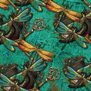Steampunk Dragonflies on Aqua