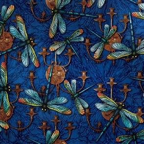 Steampunk Dragonflies on Blue
