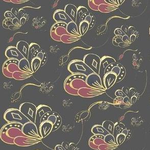 Art Nouveau Faux Brocade Flowers-  Gold & Plum On Slate Grey
