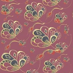 Art Nouveau Flowers -Faux Brocade On Plum