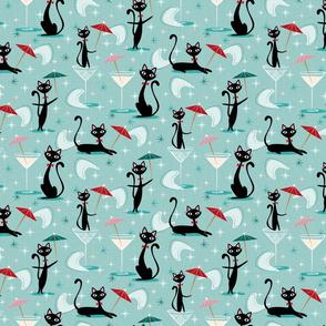 small - cocktail umbrella cats