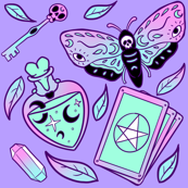 Pastel Goth and Witchy Vibes on Purple