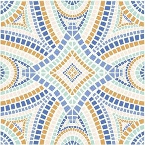 Moroccan mosaic tile in blue and gold