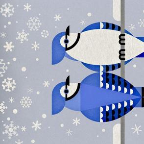 Winter Blue Jays Tea Towel