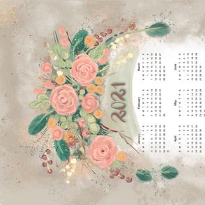 Floral calendar tea towel