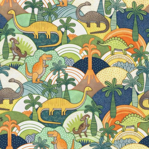 Happy Dinosaurs Small- Autumn colors- Dinosaur Adventure-  Small Scale- Kids Face mask- Green- Orange- T-Rex and Friends