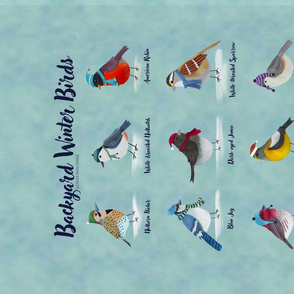 Backyard Winter Birds tea towel