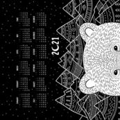 2021 tea towel calendar with polar bear